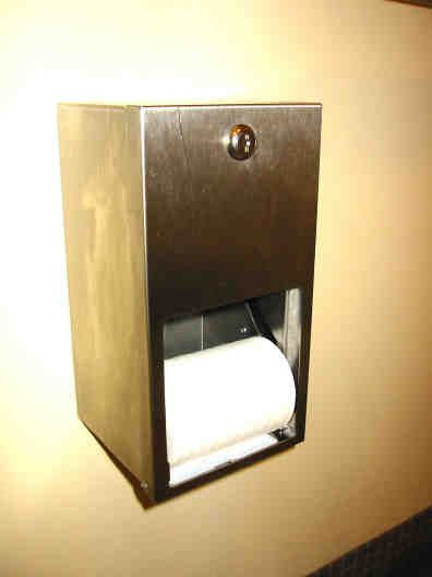 Two-roll toilet paper holder with forcing function